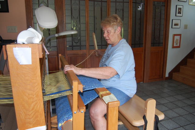 Cindy at the loom